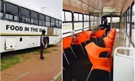 man converts an abandoned bus into a restaurant